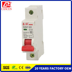 MCB Miniature Circuit Breakers 1-63A Full Materials for Silver Contact, Cooper Coil and Fireproofing Plastic Shell