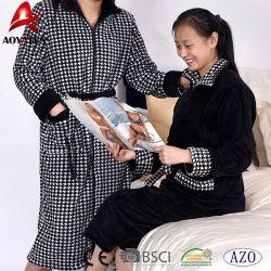 Popular Knee Length Long Style Home Unisex Plush Microfiber Bathrobe with Zipper