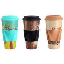 7bed403f0832 Eco-Friendly Bamboo Fibre Cup Travel Coffee Mug Reusable Coffee Cup