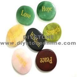 Engraved Power Symbol Reiki Healing Pebble Shape Semi Precious Stone