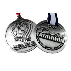 Custom 3D Metal Craft Marathon Running Sports Souvenir Medal with Ribbons for Promotion Gifts (055)