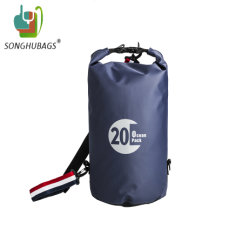 Unisex New Fashion Custom Style Tube 20L Blue Sports Outdoor Hiking Beach Hunting Gym School Waterproof Dry Shoulder Travel Duffle Backpack Bag