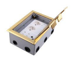 Brass Outlet Cover Type Power Socket with RJ45