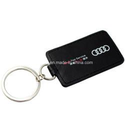 Promotional Custom Car Logo Metal Laser Carving Genuine Leather Keychain