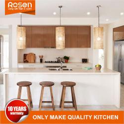 High End Custom Wooden Teak Veneer with White Kitchen Cabinet