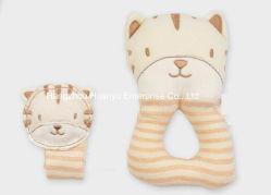 Factory Supply Organic Fabric Baby Wrist Strap and Rattle Toy Set