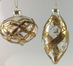 Christmas Glass Ball with Gold Color (LCP-A-0003)
