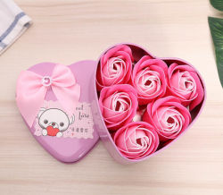 Custom Blue Color Roses Flower with Heat-Metal Shape Gift Box Soap (YB-SP-454)