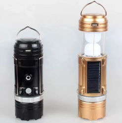 2018 Popular Manual Focus Solar/DC Charge Double Color Camping Lantern LED Fishing Flashlight