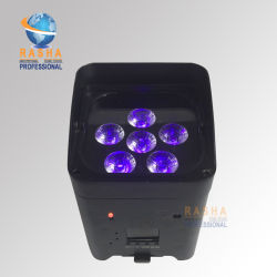 RoHS Core 6*18W 6in1 Rgabw UV APP Mobile Battery Powered Wireless LED PAR Light with IR Remote Control