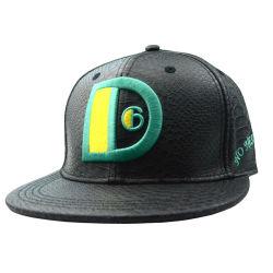 9e5de89c25b High Quality Black PU Leather Visor Cap 6 Panels Custom Embroidery Man  Snapback Hat Sun Hat