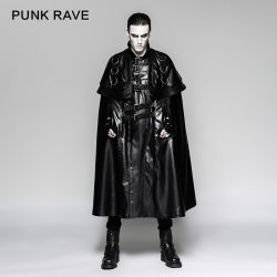 Gothic Japanese Solider Metallic Big Cloak Men Leather Long Coat (Y-747)