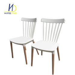 Bistro Cafe Shop Meeting Use Solid Wooden Leg Plastic Seat Restaurant Chairs
