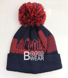Custom Classic Winter School Acrylic Hand Dyed Bobble POM Beanie Knit Hat