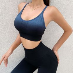 European and American Gradual Color Back Sports Bra Suit Women's Tight Hip Lifting High Waist Seamless Yoga Pants Set