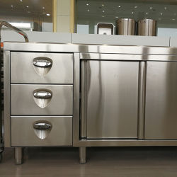 Stainless Steel Sliding Style Storage Cabinet With Three Drawers