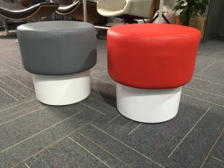 Leather Upholstery Round Pouf Stool with Fiberglass Base