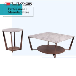 Superieur Marble Top Walnut Veneer Coffee Table