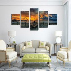 5 Panel Seascape and Boat with HD Large Print Canvas Painting for Living Room Home Decoration Unique Gift Wall Picture