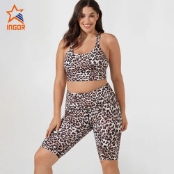 Wholesale New Fashion 2020 Leopard Printed Fitness Biker Short with Sports Bra Womens Sports Wear Popular Yoga Sport Set