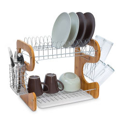 Large Kitchen Dish Rack Bamboo & Stainless Steel with Drip Tray
