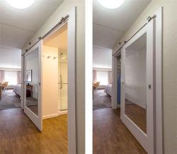 Hampton Inn Hotel White Painted Wood Sliding Barn Door With Mirror Inlay  For Bathroom And Closet