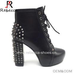 8d57bb3662cc Lady Ankle Boots Leather Platform Block Heel with Rivet Shoes Wholesale