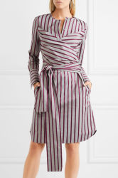 4ee07339078 Dongguan Clothing Factory Tie-Front Striped Cotton Shirt Dress