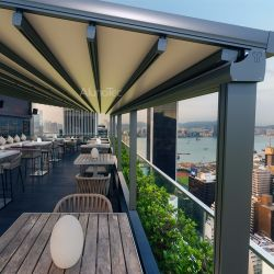 Superieur Modern Waterproof Motorized PVC Outdoor Retractable Awning With LED Light  Or Side Screen