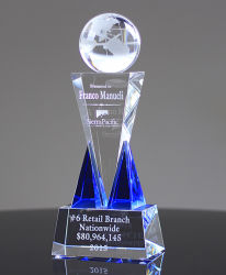 Crystal Award Trophy With Top Global Ball On The