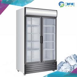 Double Swing Door Commercial Upright Display Showcase Cooler for Beverage Stock