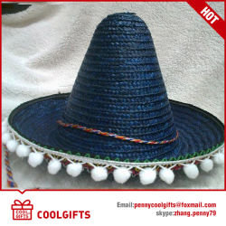 Wholesale Mexico Large Straw Hat with Brim Pompoms Balls