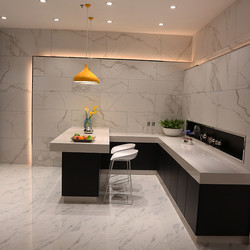 Carrara White Saw-Pulled Surface Marble Porcelain Floor Wall Tile