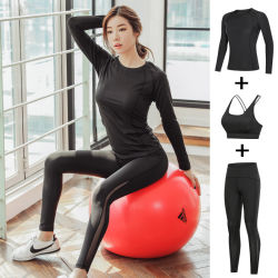 Yoga Clothing Three-Piece Suit New Autumn Quick-Drying Sportswear Ladies Hip Pants High Elastic Fitness Clothing Gym
