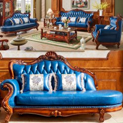 Wood Leather Sofa Set From Foshan Sofa Furniture Factory (992S)