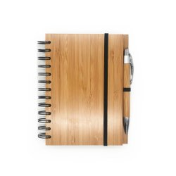 Office Supply Notebook Diary Wooden Bamboo Spiral Cover Notepad with Bamboo Pen for Student