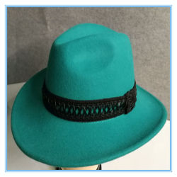 06e656da2d57c Fashion 100% Wool Felt Cowboy Man Hat with Different Ribbons