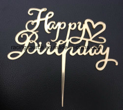 Gold Mirror Happy Birthday Cake Topper with Heart
