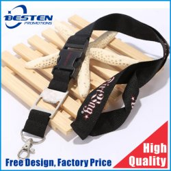 Customized Logo Heat Transfer Printed Neck Strap Black Key Lanyard Keychain Holder