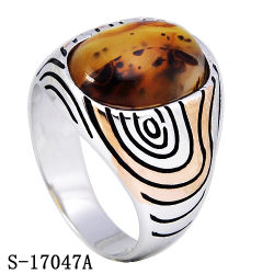 New Arrival Sterling Silver Jewelry Ring with Natural Agate