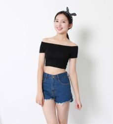 Factory Clothes Fashion Short Sleeve Knitted Cotton Women Crop Tops