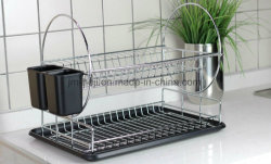 Chrome-Plated Wire Steel 2-Tier Dish Rack with Drainboard and Cutlery Cup