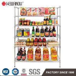 Food Store Shop Display 300kgs Chrome Metal Wire Rack Shelving Factory
