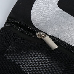 Customized Black 300d Polyester Drawstring Backpack Bag with Mesh Pocket, Drawstring Gym Sport Bag with Zipper Pocket