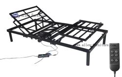 Cheap Wholesale Electric Adjustable Metal Bed Frame, Center Folding, DHL/UPS Able, All in One Box, Wired Remote Control, Two Motors for Head and Foot Adjust