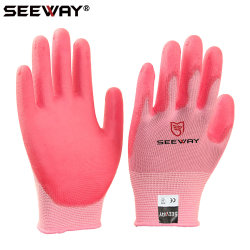 Seeway Nylon Knit Pink PU Coated Painting Gloves