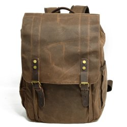 Waterproof Waxed Canvas Leather Rucksack Unisex Backpack Bags (RS-9152)