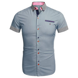 Mens Casual Short Sleeve Button Down Shirts with Stripe Trim