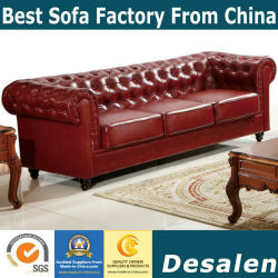 Best Quality Factory Wholesale Price Chesterfield Genuine Leather Sofa (633)