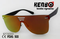 One Piece Lens Sunglasses with Wood Grain Drawing Temple Kp70322